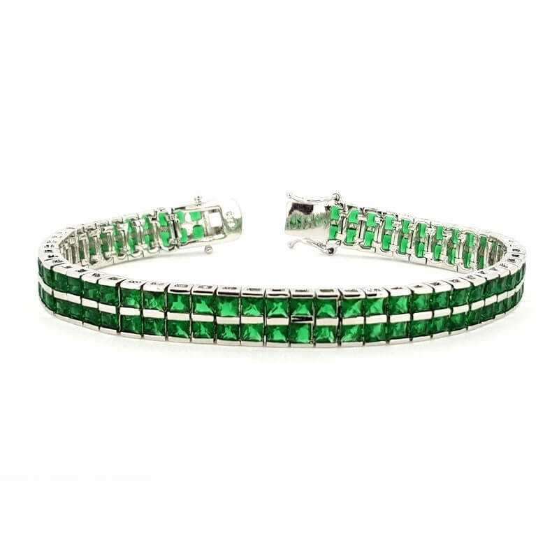 TENNIS BRACELET DOUBLE-SILVER 18 cm with EMERALDS, cubic ZIRCONIA and RHODIUM-plating WHITE GOLD