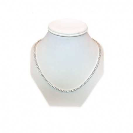 41 cm silver necklace with Zircon diamonds and white gold rhodium plating