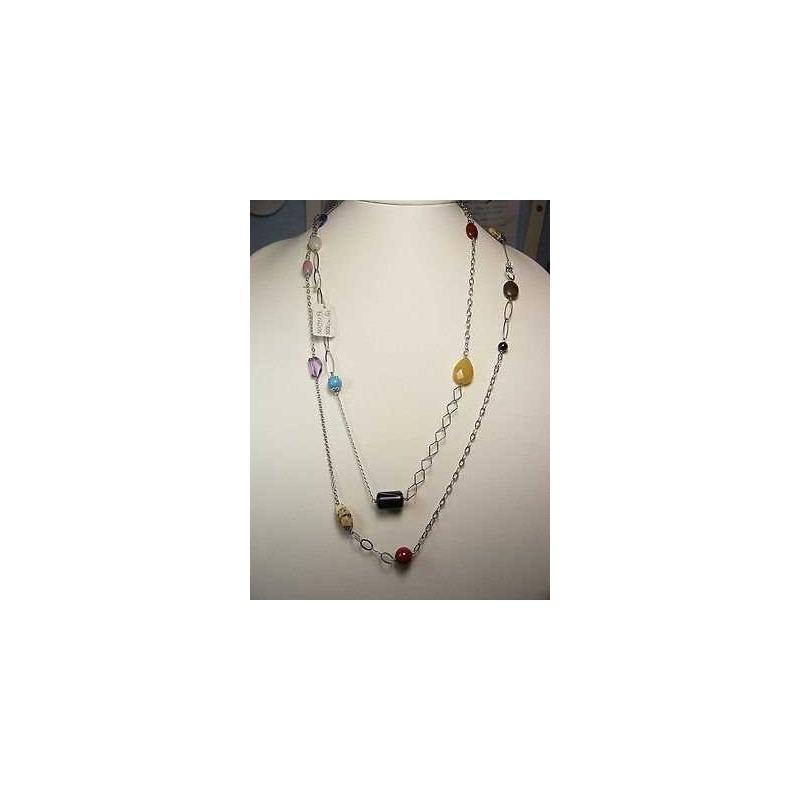 COLLIER améthyste quartz ARGENT sterling 925 rhodié OR 42 GRAMMES LONG 140 CM PIERRE