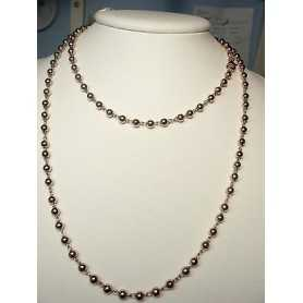 NECKLACE SILVER 925 RHODIUM-PLATED ROSE GOLD 36.20 GRAMS LONG 100 CM