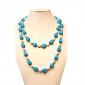 NECKLACE of PEARLS and TURQUOISE with inlay rhodium-plated GOLD - 112cm