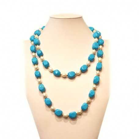 Pearl and turquoise necklace with gold rhodium - plated inserts-112cm