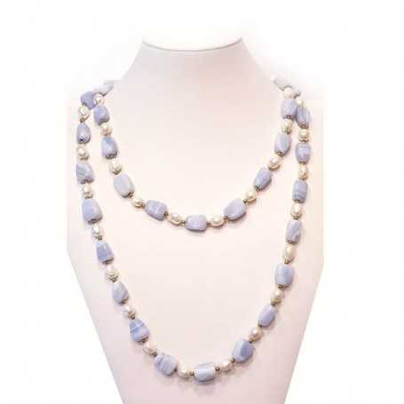SCARAMAZZE Pearl and Agate necklace with gold rhodium - plated inserts-120cm