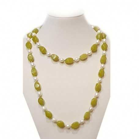 NECKLACE some kind of PEARLS and green Jade INSERTS with rhodium-plated GOLD - 112cm
