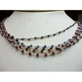NECKLACE SILVER OF VARIOUS SIZES - RUBIES, SAPPHIRES, ONYX, EMERALD.