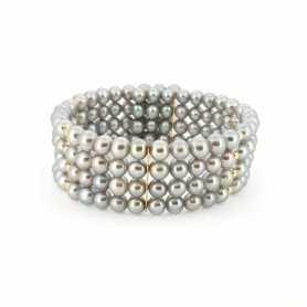 BRACELET PEARLS BIWA JAPAN GRAY WITH GOLD 18 KT