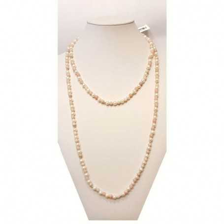 Pearl and tourmaline necklace with gold rhodium - plated inserts-120cm