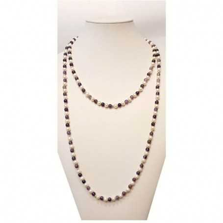 NECKLACE of PEARLS and AMETHYST INSERTS with a rhodium-GOLD - 120cm