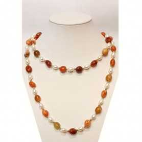 NECKLACE PEARLS BIWA JAPAN and AGATE INSERTS with rhodium-plated GOLD 18 KT