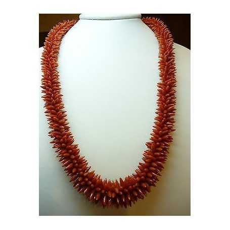 CORAL NECKLACE HAND WOVEN with GOLD CLOSURE 18 KT WEIGHT 165 g