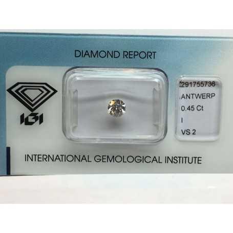 Diamante igi 0.45 colore i vs2 carati lotto 0.50 blister