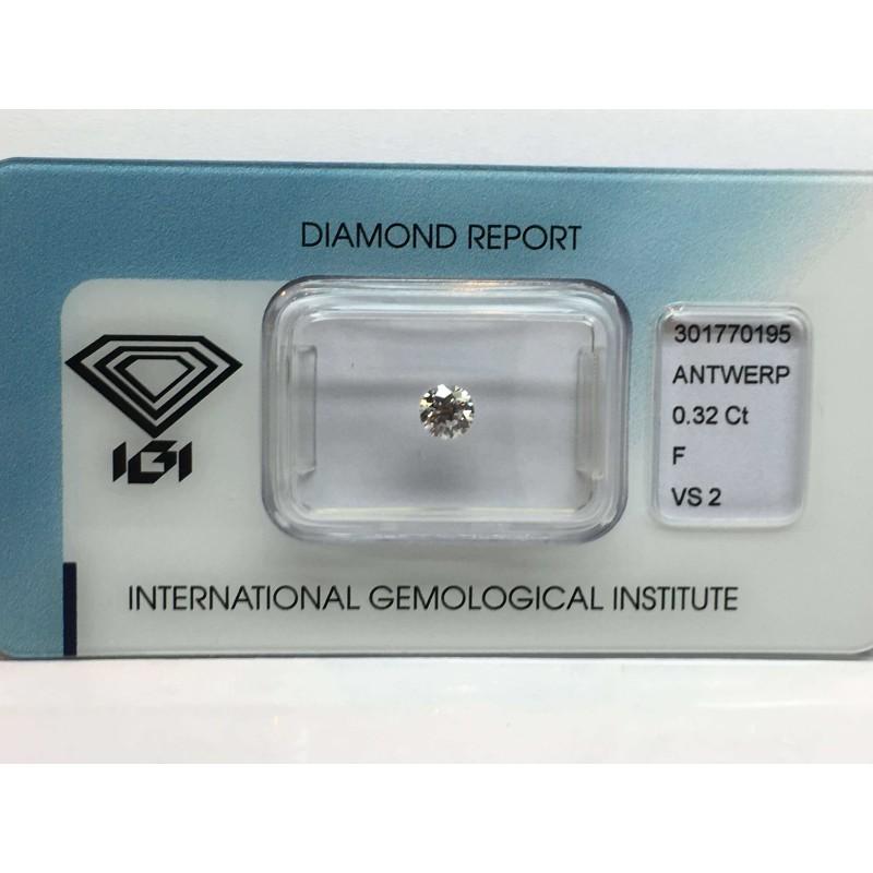 Diamante igi 0.32 colore F vs2 carati lotto 0.50 0.30 blister
