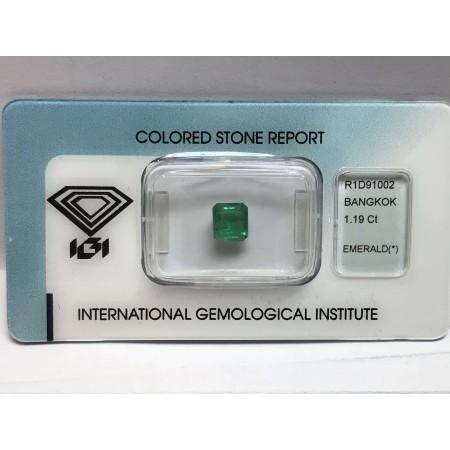 Smeraldo certificato 1.19 carati blister lotto 1.00 1.50 2.00