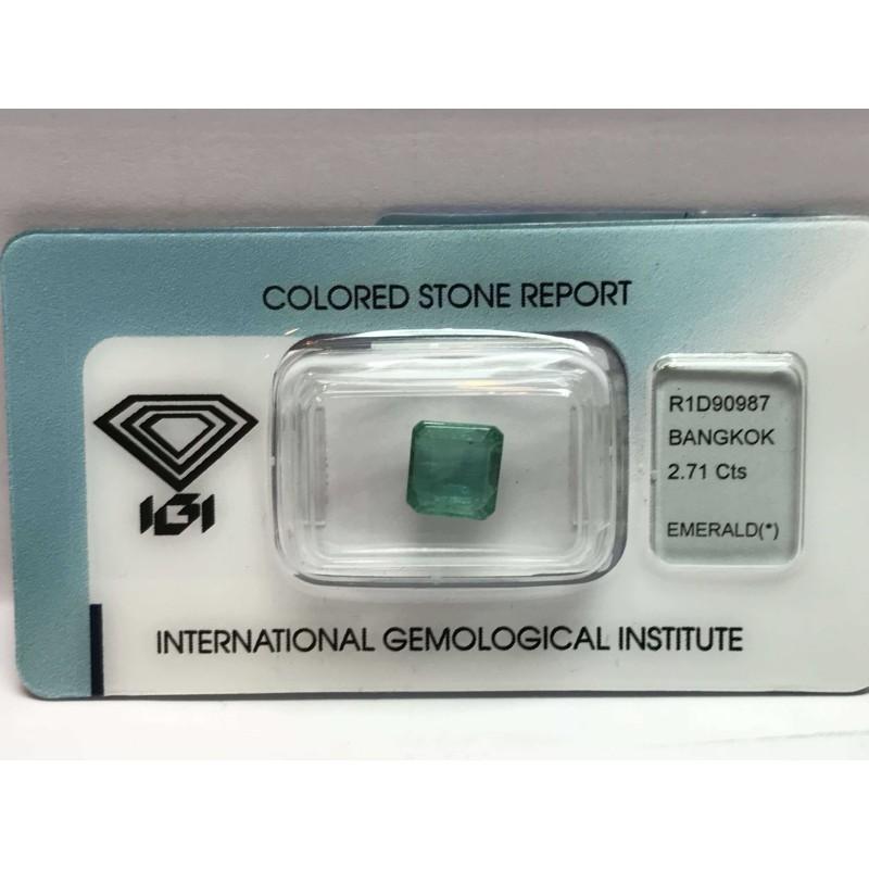 Smeraldo certificato 2.71 carati blister lotto 2.00 3.00