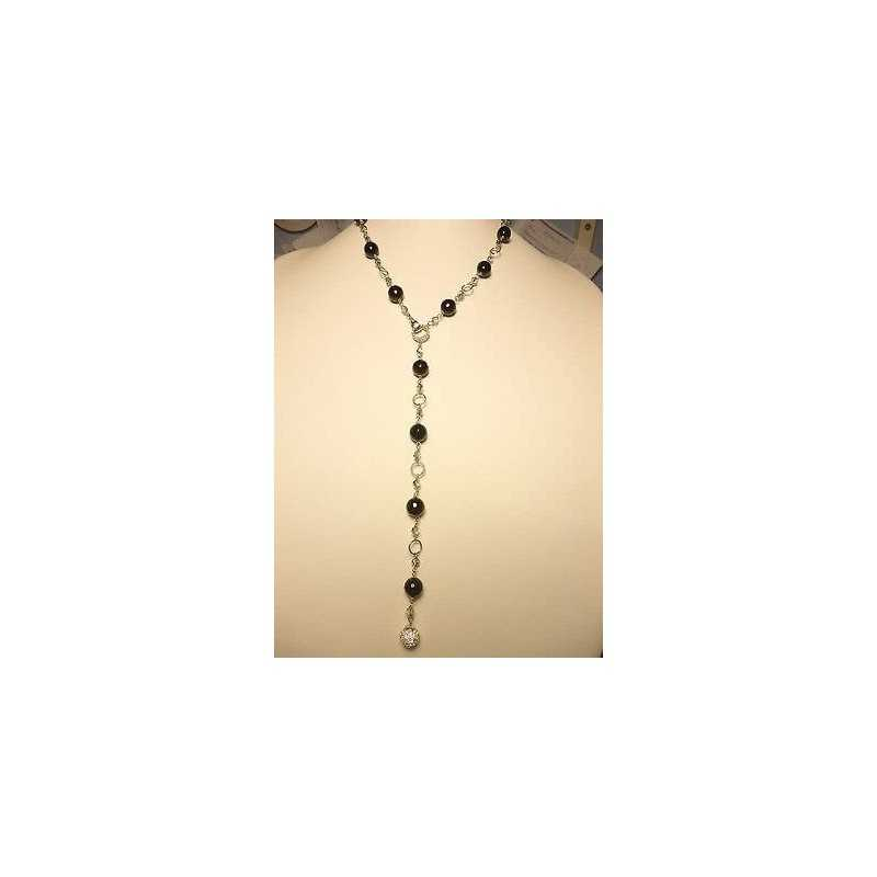 NECKLACE ONYX CUBIC ZIRCONIA AS DIAMONDS 925 STERLING SILVER RHODIUM-PLATED WHITE GOLD 30 GRAMS