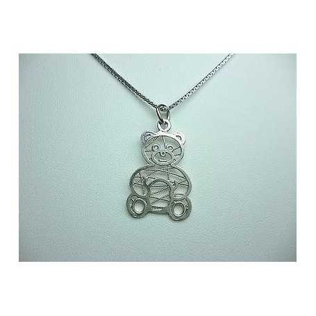 NECKLACE TEDDY BEAR SILVER WITH CHAIN 5.0 GRAMS