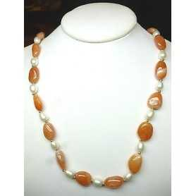 NECKLACE with PEARLS BIWA of JAPAN with CARNELIAN and inlays rhodium-plated 18 K GOLD