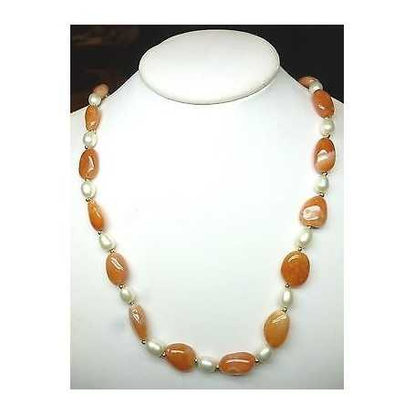 NECKLACE with PEARLS BIWA of JAPAN with CARNELIAN and INSERTS in GOLD 18 KT