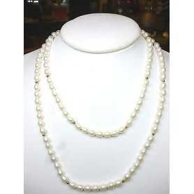NECKLACE PEARLS BIWA JAPAN RICE WITH INSERTS IN GOLD 18 KT