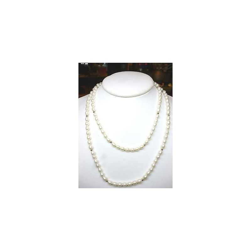 NECKLACE PEARLS BIWA JAPAN WITH INSERT IN GOLD 18 KT
