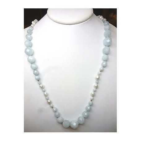 NECKLACE BAROQUE PEARLS AND BEADS AQUAMARINE FACCETTATE 18KT GOLD