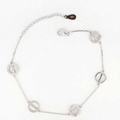 BRACELET in RHODIUM-plated SILVER with GEMSTONES - DCL-TO-BCB069
