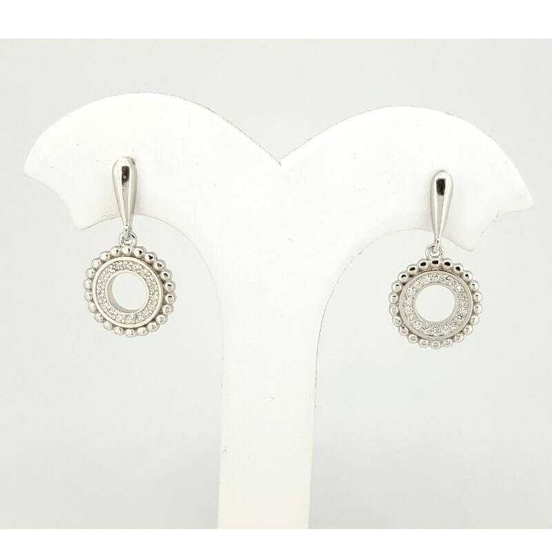 EARRINGS in RHODIUM-plated SILVER with GEMSTONES - DCL-TO-BE015