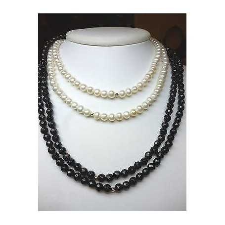 NECKLACE PEARLS BIWA JAPAN AND AGATE 18 K GOLD, A DISCOUNT OF 80 %