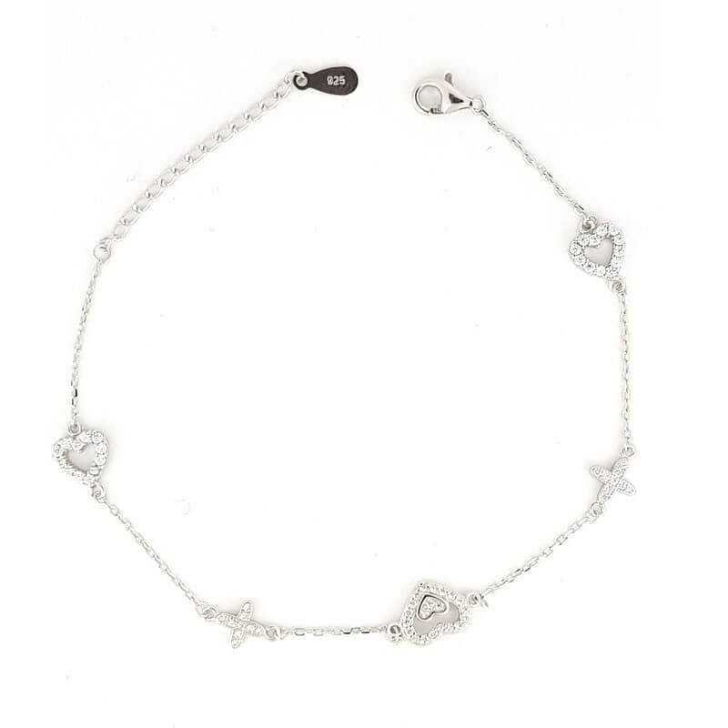 BRACELET in RHODIUM-plated SILVER with GEMSTONES - DCL-TO-BCB115