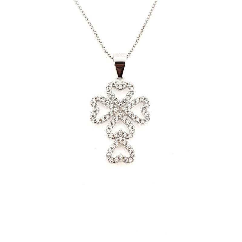 PENDANT in RHODIUM-plated SILVER with GEMSTONES - DCL-TO-BLP456