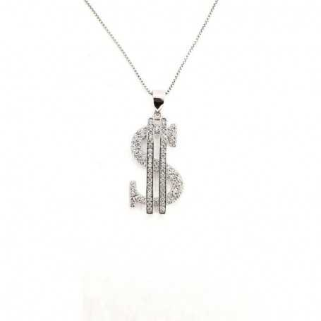 PENDANT in RHODIUM-plated SILVER with GEMSTONES - DCL-TO-BLP491