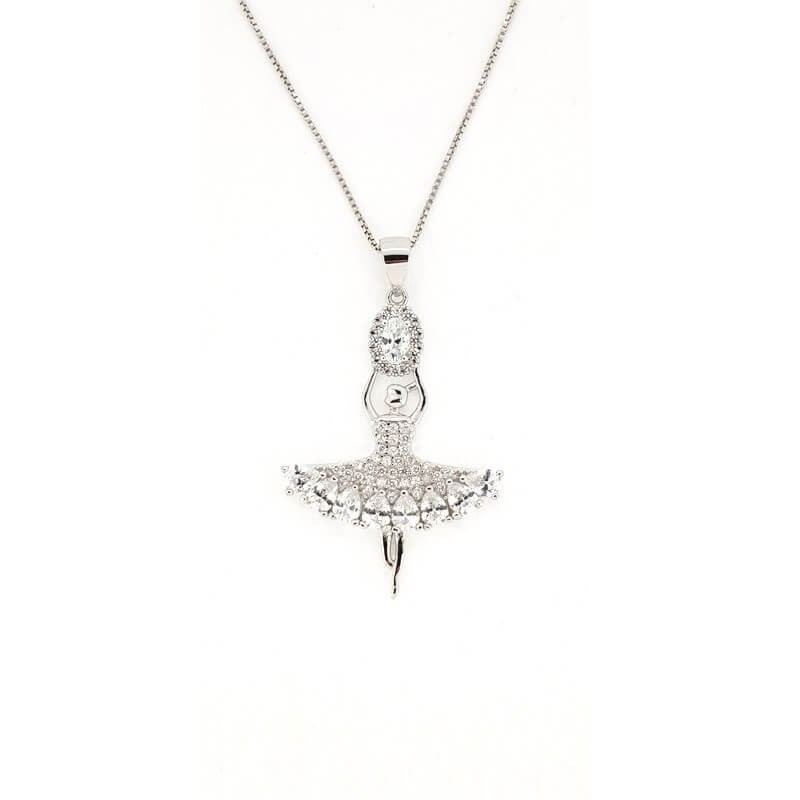 PENDANT in RHODIUM-plated SILVER with GEMSTONES - DCL-TO-BLP489