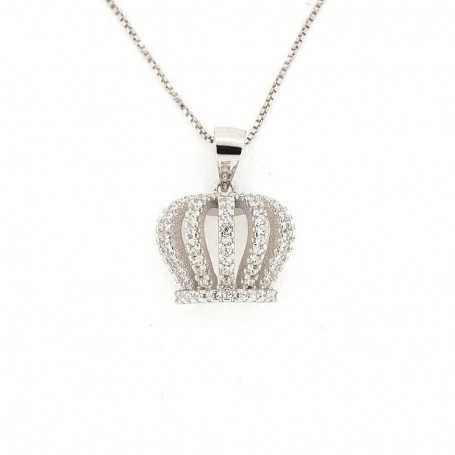 PENDANT in RHODIUM-plated SILVER with GEMSTONES - DCL-TO-BLP470