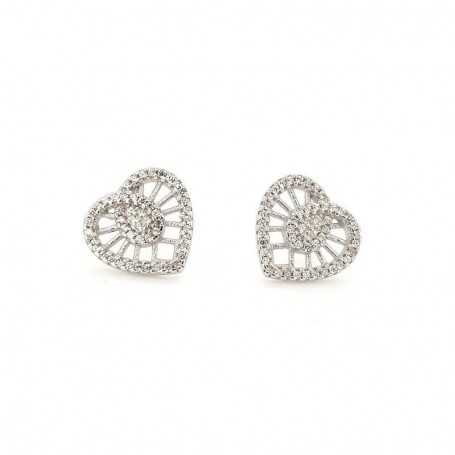 EARRINGS in RHODIUM-plated SILVER with GEMSTONES - DCL-TO-BLE144