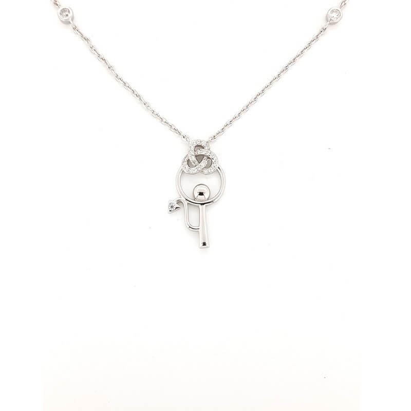 NECKLACE in RHODIUM-plated SILVER with GEMSTONES - DCL-TO-BN008