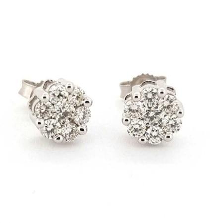 BOUCLES d'oreilles en OR 18 kt Diamants de 0.75 Ct VS la clarté de la Couleur F lot 1.00