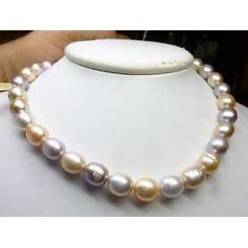 NECKLACE PEARLS BIWA JAPAN PINK MULTICOLOR 11 12 MM