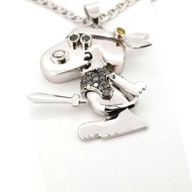 Ciondolo Snoopy in oro GR 21.30 DIAMANTI 0.35