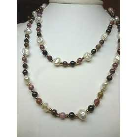 NECKLACE PEARLS BIWA JAPAN SCARAMAZZE TOURMALINE 18 K GOLD EXCEPTIONAL 80% DISCOUNT