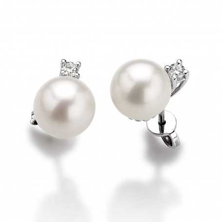 EARRINGS with DIAMONDS and AKOYA PEARLS 8.5 mm 0.20-Carat WHITE or YELLOW GOLD