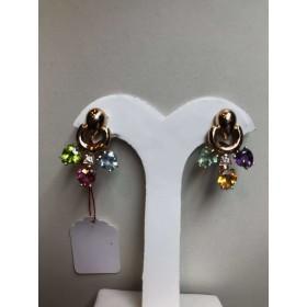 Boucles d'oreilles en or jaune 18 k 13.5 gr multi-couleur des saphirs 15.00 carats