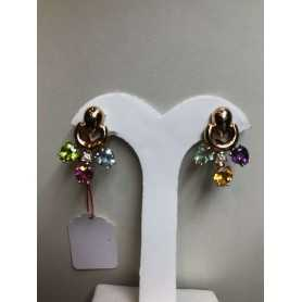 Earrings in 18 k gold 13.5 gr multi-colored sapphires 15.00 carats