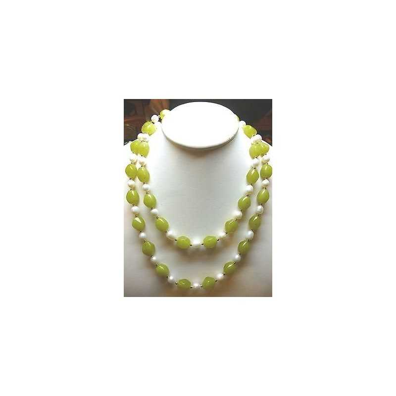 NECKLACE PEARL ONIONS BIWA IN JAPAN AND GREEN AGATE WITH INSERT IN GOLD 18 KT