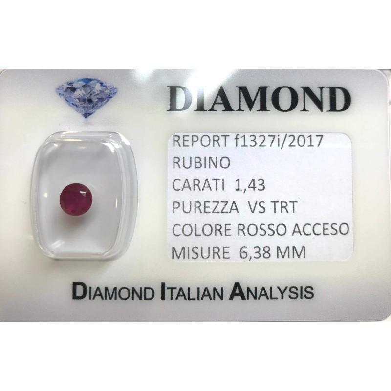 RUBINO taglio carati 1.43 rosso acceso in blister