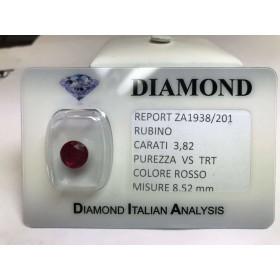 Couper RUBY, carat 3.82 rouge sous blister LOT de 4,00
