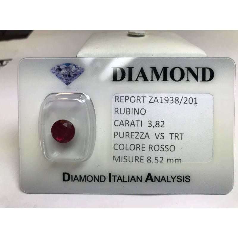RUBINO taglio carati 3.82 rosso acceso in blister LOTTO 4.00