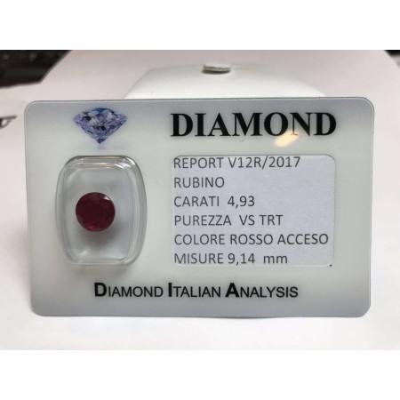 RUBINO taglio carati 4.93 rosso acceso in blister LOTTO 5.00