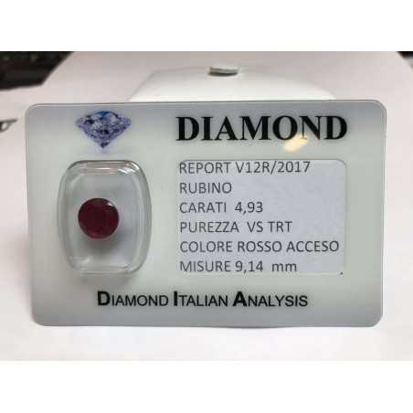 Ruby cut carat 4.93 bright red in blister lot 5.00