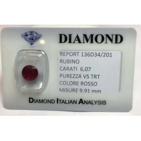 RUBINO taglio carati 6.07 rosso acceso in blister LOTTO 6.00