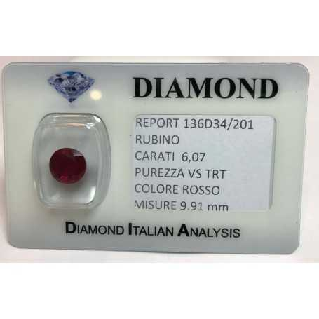 Ruby cut carat 6.07 bright red in blister lot 6.00